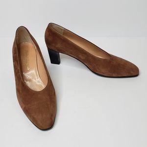 Robert Clergerie tan suede leather heels